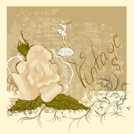 ballerina silhouette: watercolor rose and ballerina with floral decoration
