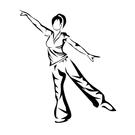 Aerobics. silhouette of abstract woman isolated on white