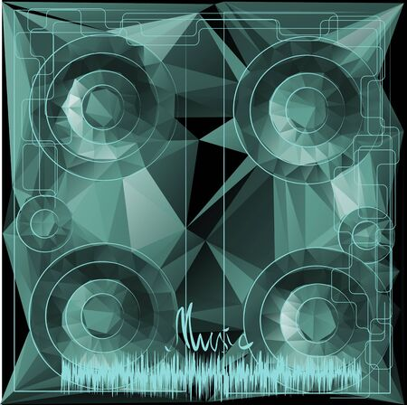 music. abstract bacground with triangular speakers and wave
