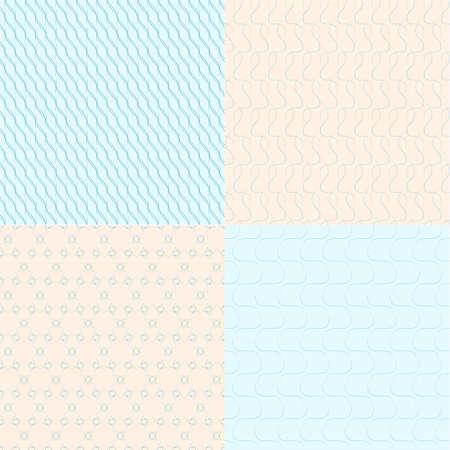 geometric seamless backgrounds on blue and bege Ilustração