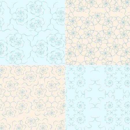 geometric seamless backgrounds10on blue and bege Ilustração