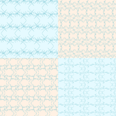 geometric seamless backgrounds9 on blue and bege