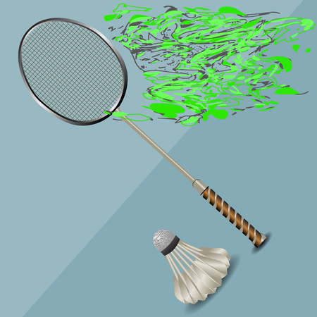 badminton racket: badminton racket and shuttlecock on abstract background Illustration