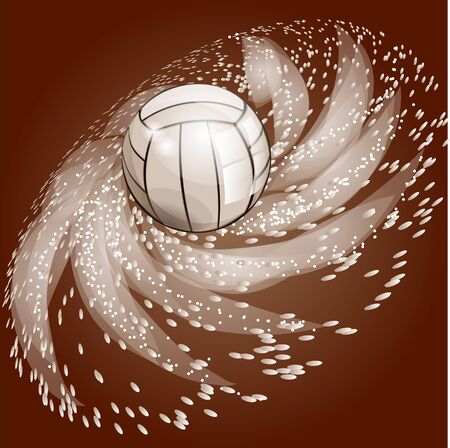 symbolics: abstract volleyball background with ball and light Illustration