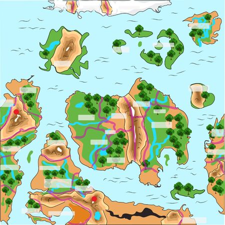 symbolized: game map. illustration of a symbolized earth and treasure map
