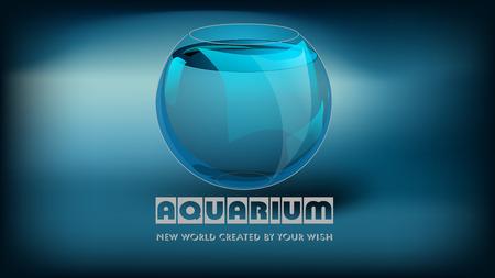 eslogan: acuario y lema en fondo oscuro abstracto.