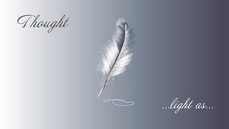 slogan: pluma blanca y el lema sobre fondo gris