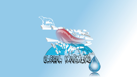 global warming. bear on polar ise and water drop Vector