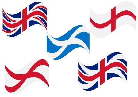 Flag England Scotland. set of british flag on white background Illustration