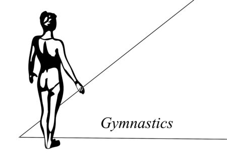 silhouete: floor gymnast. abstract silhouete of gymnast on white background Illustration