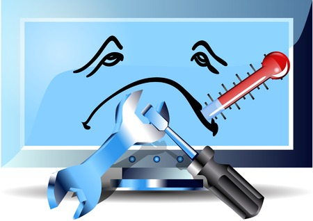 flu computer. monitor with thermometr and tools Vector