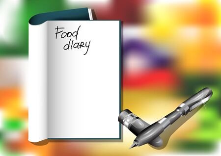 food diary and pen on blured background