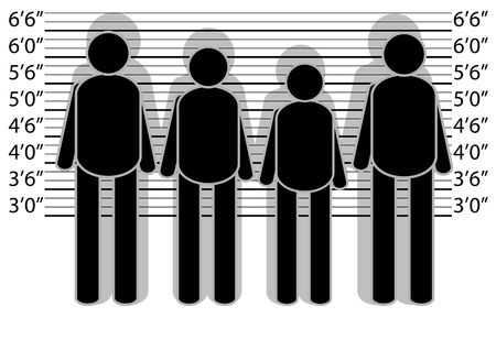 lineup: line up police. abstract silhouette of people on white background