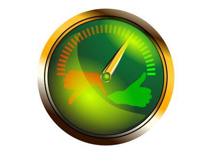 rating meter: meter. llustration of a metal framed customer satisfaction meter Illustration