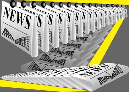 新聞印刷。灰色の背景に新聞の行