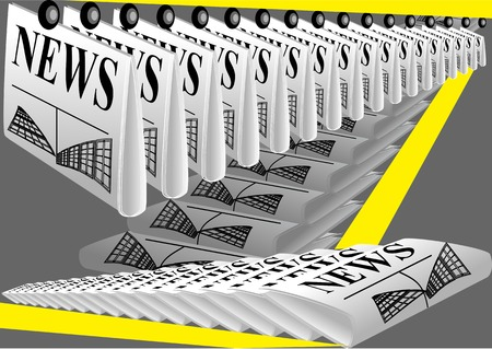 newsprint: newspaper printing. row of newspaper on gray background
