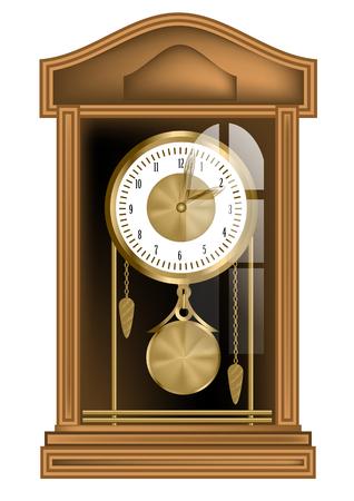 reloj de pendulo: reloj de péndulo aislado en un fondo blanco
