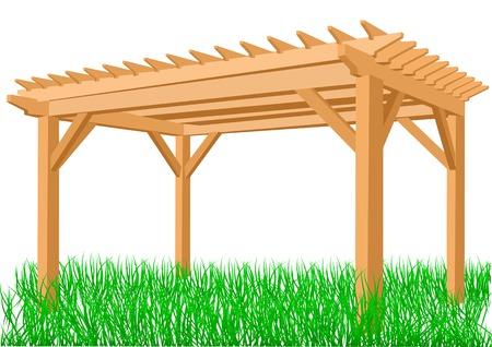 wooden pergola isolated on a white background