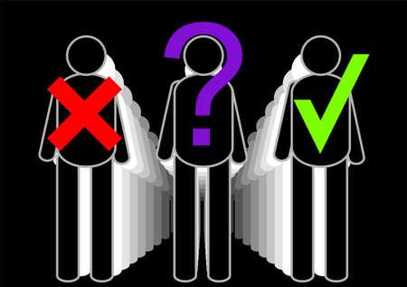 preferencia: reputaci�n. silueta abstracta de personas con signo Vectores
