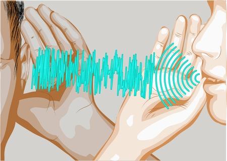 oir: hablar y escuchar. dos siluetas y letras de olas abstracty