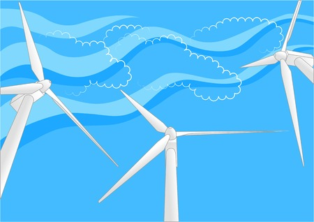 windfarm: eolico contro un cielo blu con nuvole astratto