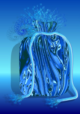 sackful: bag souvenir with abstract decoration on blue background