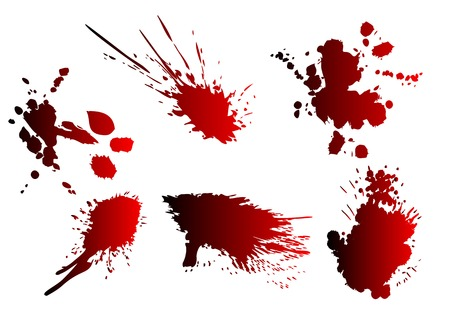 spatter: blood spatter. set of splash isolated on white