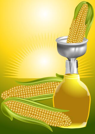 fruttosio: sciroppo di mais. tre mais e bottiglia di sciroppo