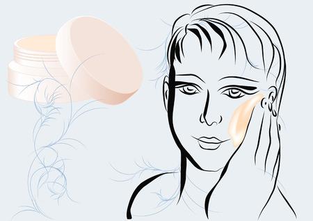 moisturiser: face moisturiser. silhouete of woman with cream on face