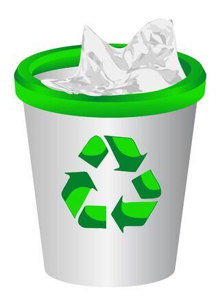 litter bin: full litter bin isolated on white background