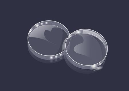 petri dish: lab and petri dish on dark background