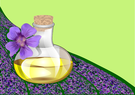 Lavender oil and lavander flower on abstract backgroung