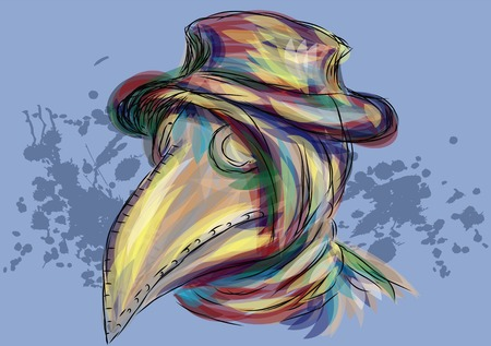 contagious: plague doctor. abstract multicolor portrait of doctor during a plague epidemic