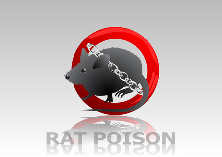 poison sign: rat poison. rat in sign stop with chain Illustration