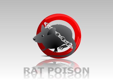 exterminate: veneno para ratas. rata en se�al de stop con la cadena