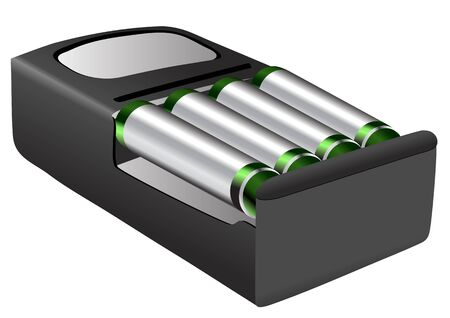 rechargeable: rechargeable batteries isolated on a white background Illustration