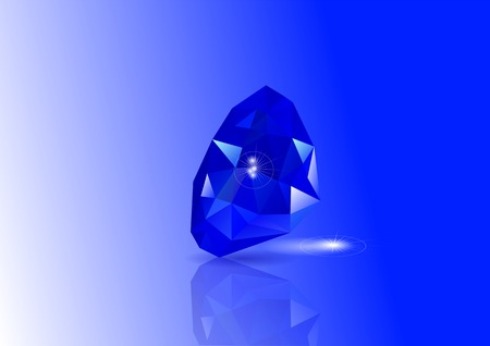 refraction: sapphires with reflection and light on blue background