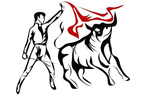 スペイン闘牛士。白い背景に分離した抽象的なシルエット