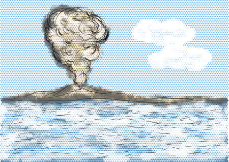 vulcanology: volcanic mountain with sea. abstract explosion of volcano