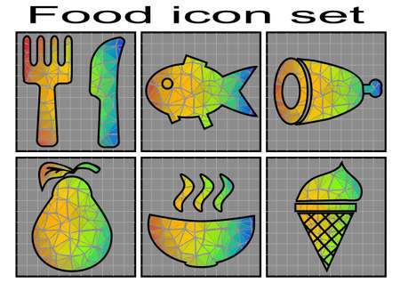 food icon set: food icon set. Vector set of 6 multicolor food icon
