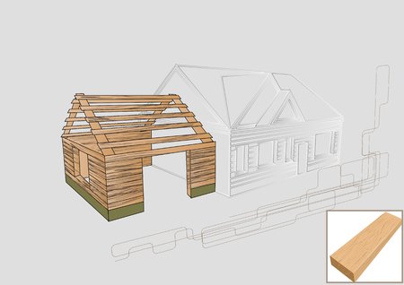 old barn: barn detail wood. project of house with wooden detail Illustration