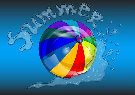 beachball: beachball with blue water and iscription summer Illustration