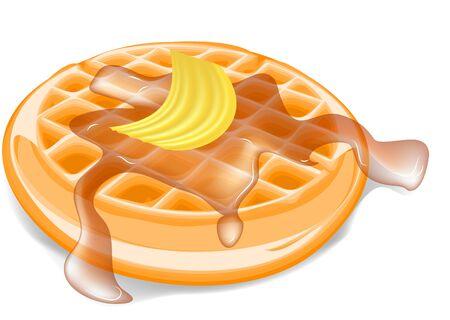 belgian waffle: belgium waffles isolated on a white background Illustration