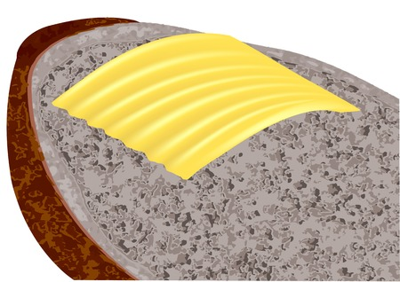 bread and butter: butter on bread Illustration