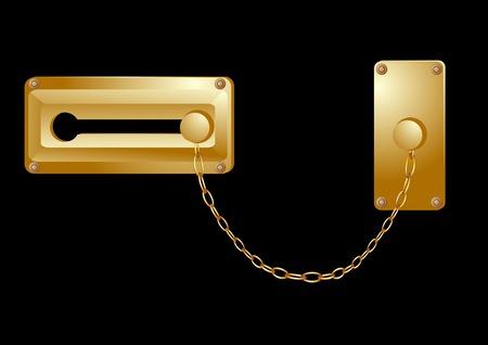 door lock: door lock isolated on a black background Illustration