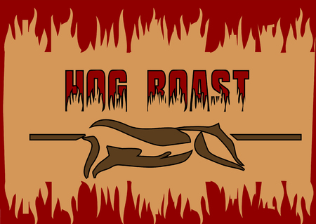 to spit: hog roast. abstract barbecue background with silhouette of pig