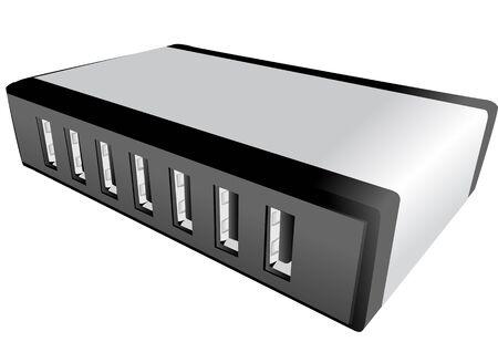 ethernet cable: hub isolated on white background. 10 EPS Illustration
