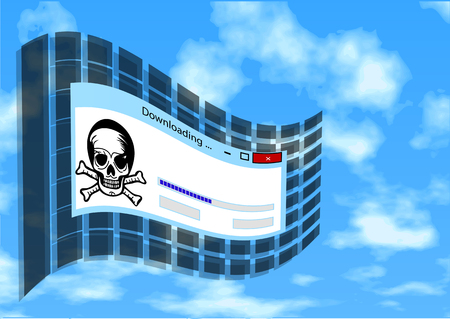 illegal: illegal download. flag with skull and sign of downloading