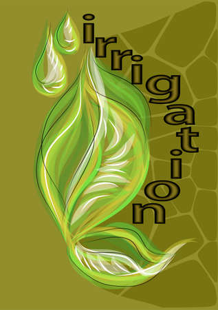 irrigation: irrigation. abstract leaves with abstract grops of water Illustration