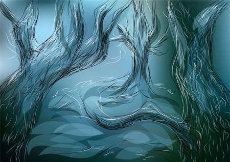 misty forest: perdido bosque. �rboles abstractos en un fondo borroneada